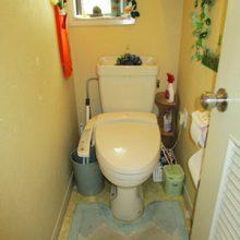1F トイレ : 袖付きウォシュレットの便器